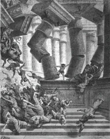 Samson sterft in de tempel van Dagon. Gravure van Gustave Doré.